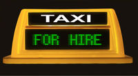 DIGITAL TAXI TOP WITH SIGN OF HIRED