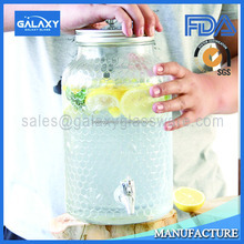 wholesale glass juice dispenser for cold drink with metal lid