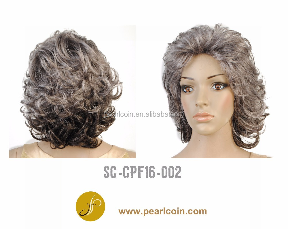 Top Selling Superior Hot Curly Short Synthetic Grey Wigs