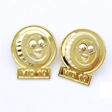 wholesale custom high quality metal lapel pin badge with gold smile