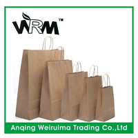 recycled brown twisted paper handle bag wholesale