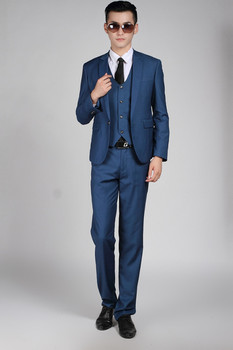 Wholesale Navy blue casual men's suits fashion Bridegroom blazer