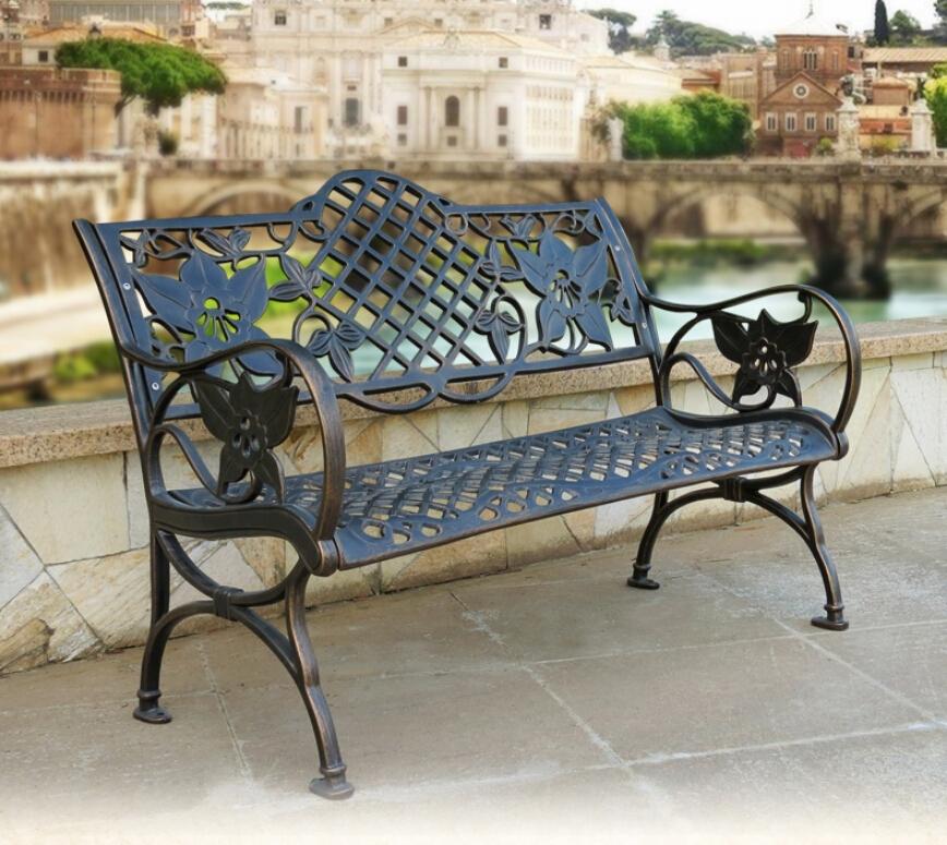 Blanco banco de jard n de hierro forjado barato antique for Bancos jardin baratos