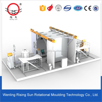 Automatic Shuttle Rotomolding Machine to produce plastic products Pe plastic rotomolding water tank mould 2-Arm Rotomolding
