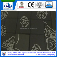 butterfly design black mirror etching stainless steel sheets for elevator door
