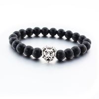 Hot wholesale health jewelry findings DIY beads with lion head yoga bead bracelet