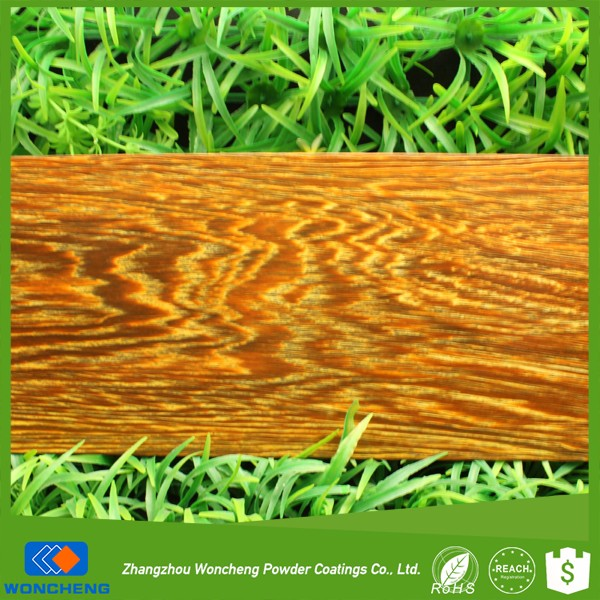 Specially thermal sublimation wooden effect spray powder coating with yellow glossy base