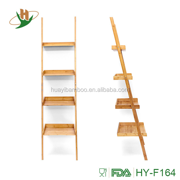 Natural living 4-tier free standing storage rack bamboo wood ladder shelf