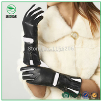 Customized ladies fashion dresses with picture leather gloves guantes de women winter long leather gloves with double zippers