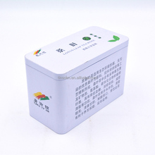 Rectangle shape metal tin tea caddy with inserted cover