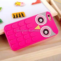 3D Big Eyes Owl Rubber Case For iPhone 6/6 Plus, For iPhone 5//5s/6/6plus Silicon colorful Jelly Soft Case