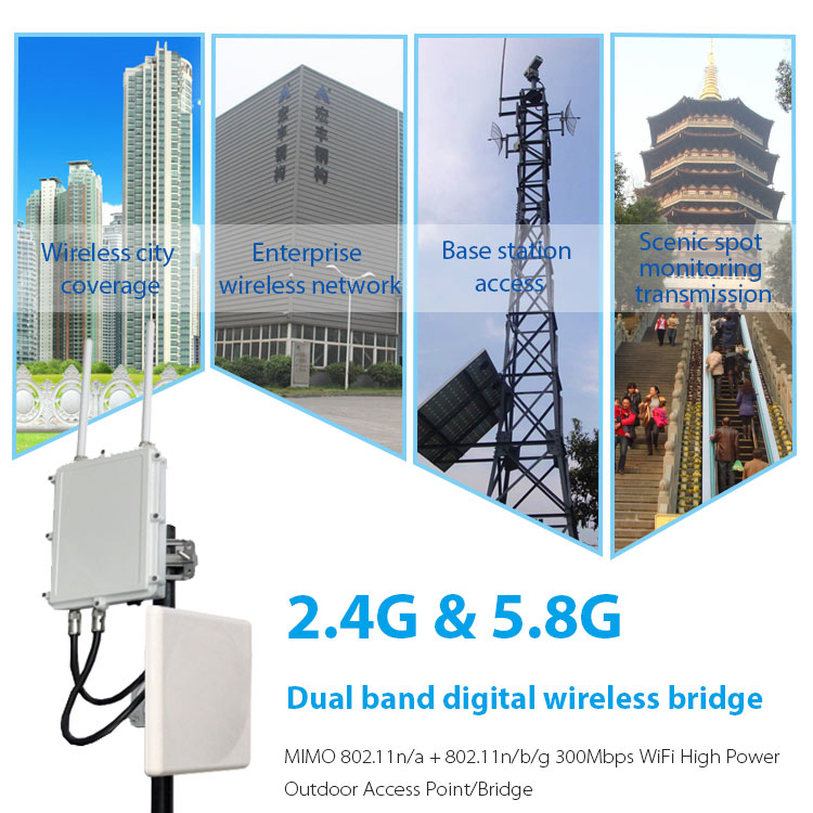 Double frequency OEM OFDM wireless access point outdoor long range internet transmission