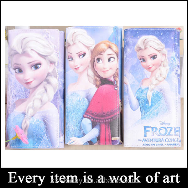 Hot sell designer Frozen Cartoon ladies purse, christmas wallets