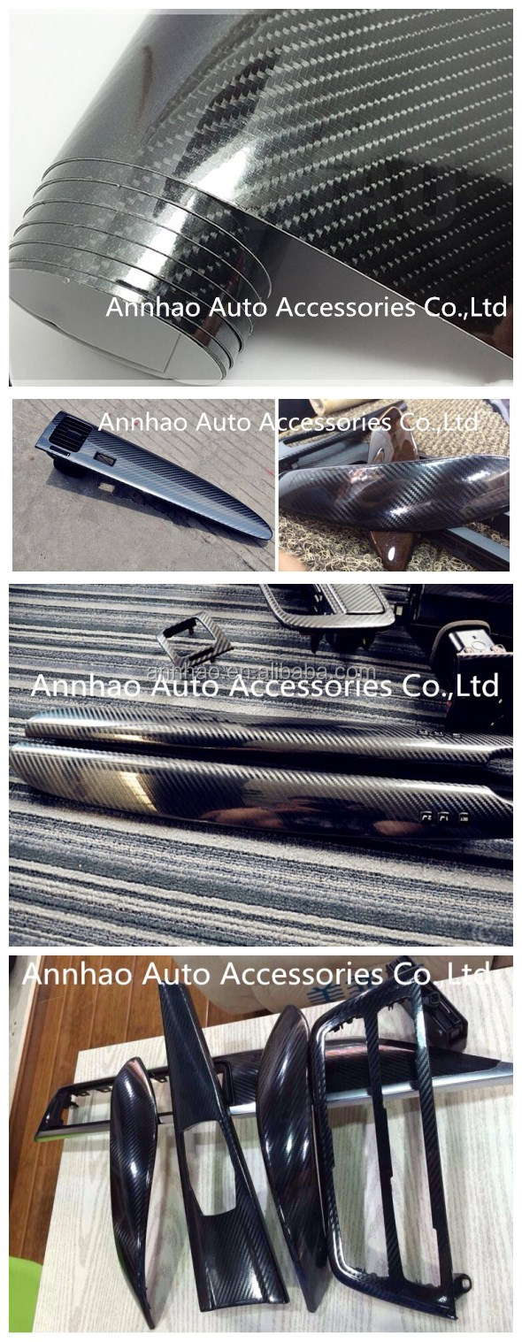 1.52*18m  sticker for cars body decal 3D and 4D Texture Glossy Black Car Vinyl Wrap 5D Carbon Fiber sticker