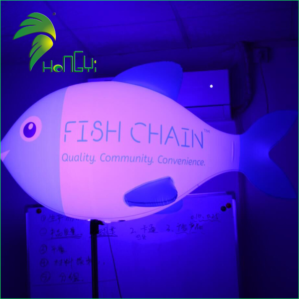 Led Lighted Inflatable Stand Fish Balloon With Pole For Advertising