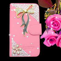 Hot sale luxury wallet leather bling diamond case for moto x phone
