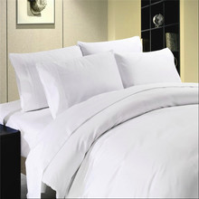 T400 hotel cotton sateen plaid white duvet cover set