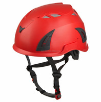 red safety helmet with visor and ear defenders