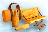 2015 New Year gift packing for Champagne Luxury Foldable Pu 2 Bottles Leather Wine Carrier With Handle