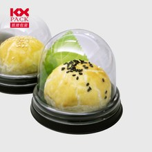 Food Grade High Quality Round Shape Black PS Tray With Clear PET Lid Cake Box For Cake Packing