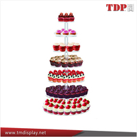 3 4 5 6 7 tiers round clear acrylic cupcake stand for wedding birthday