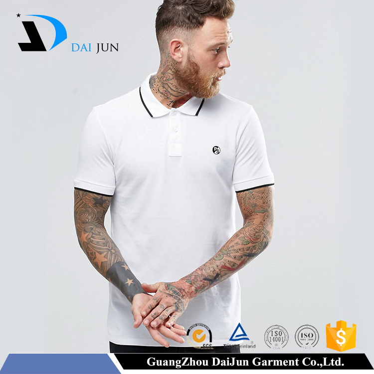 Hot sell Black and white slim fit 230g cotton custom men embroidery 100% nylon polo shirt