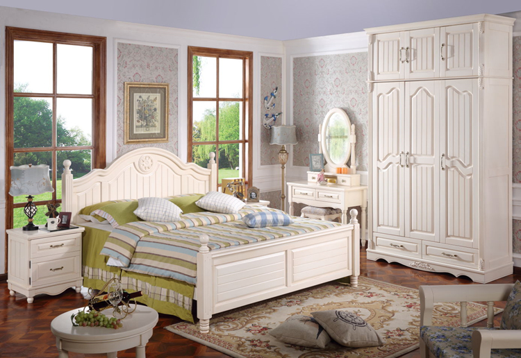 Country design wooden bedroom furniture two colors white king size queen size bed frame