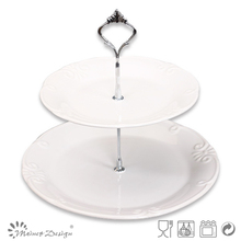 custom design two layers cake stand plates hot selling two-tier cake plates chinese manufacture