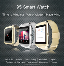 hot selling i95 smart watch Bluetooth wirst watch Android 4.3 system smart watch for support IOS