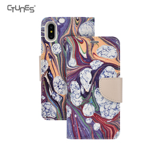 Colorful Drawing Printed PU Leather Wallet Case Soft TPU Inner Bumper Flip Magnetic Folio Card Holders Stand Cover For iPhoneX