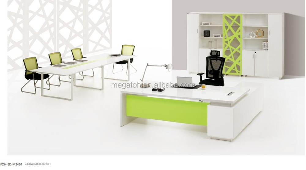 Foshan modern computer office table design photos(FOH-P3521)