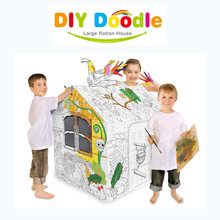 Baby Drawing Toy Pet House Shape Children Education DIY Toy Kids Indoor Play Tent With Brushes And Dye 79*63*109cm