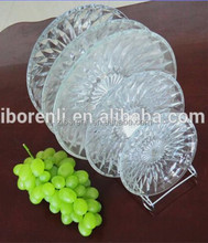 Flower Patterned Clear Glassware Dinner Set Beaded Heat Resistant Cheap Charger Plates