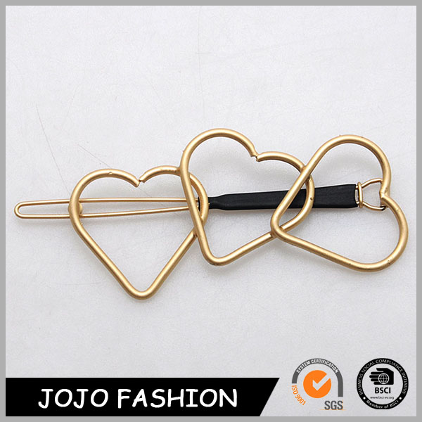 2017 bright gold color three heart shape design flower brooch bun hair pin
