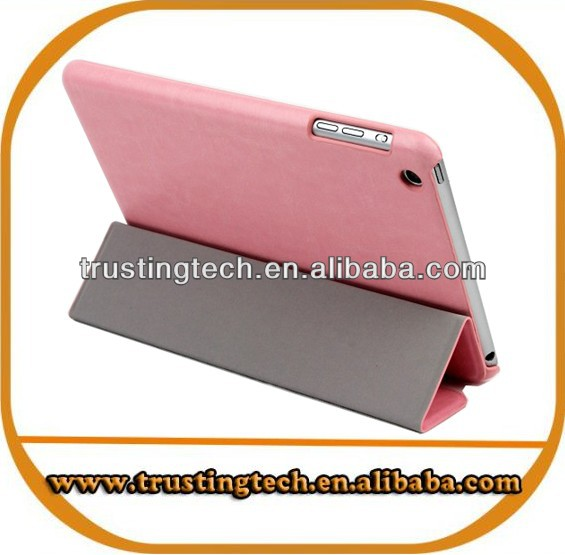 Newest Style three folder leather stand cases cover for Ipad mini