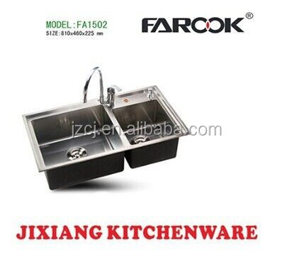 High quality 81x46cm kitchen sink SUS304 Double Bowl sink hand make vegetable washing sink