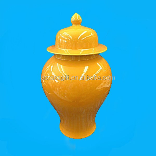 yellow porcelain ginger jar