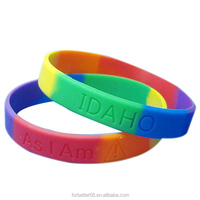 Six Colors Segmented Debossed Silicone Wristbands
