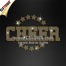 Cheer with stars bling letter cheer iron on heat transfer strass