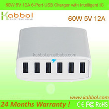 60W 6-Port USB Family-Sized Professional Charger with Intelligent Charging Technology for for Cell Phones, Tablets, E-Reader