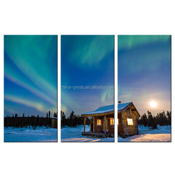 The Arctic Landscape Giclee Print Wholesale Polar Lights Photos Canvas Artwork for Living Room Office Decoration 3 Panels