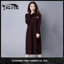 Women Round Neck Fashion multicolor Long Sleeve Straight Dress