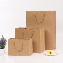 customized printed luxury brown kraft handle gift paper bag with shopping bag printed logo