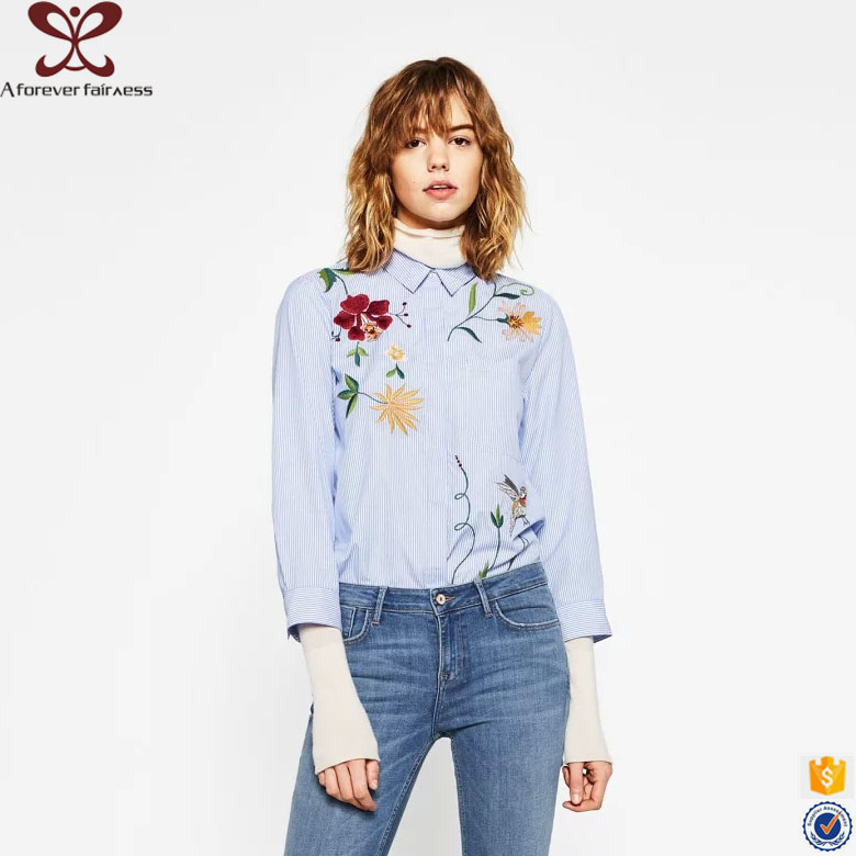 A Forever Fairness Light Blue Flower Embroidery Women Office Long Sleeve Shirts For Ladies