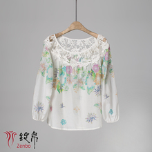 Digital printing cotton silk lawn blouse for lady