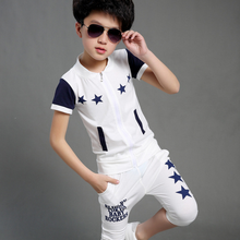 Alibaba trendy design summer short sleeve children sets zipper printed star matching boys cotton suit