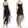 HC0002 2014 new sweetheart neckline spaghetti straps sexy black short front and long back transparent bottom cocktail dress