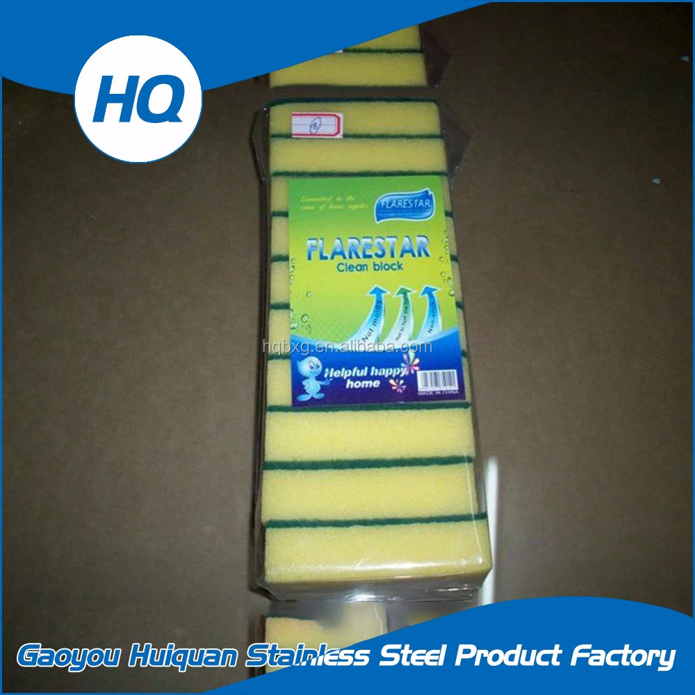 Non-scratch green sponge kitchen washing scouring pad with sand