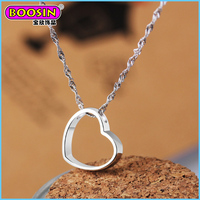 jewelry wholesale heart shape925 sterling silver diamond necklace