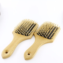 Hair Brush Massage Scalp Comb w/ Wooden Bristles and Wood Beard Comb for